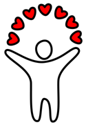 Figure holding several hearts